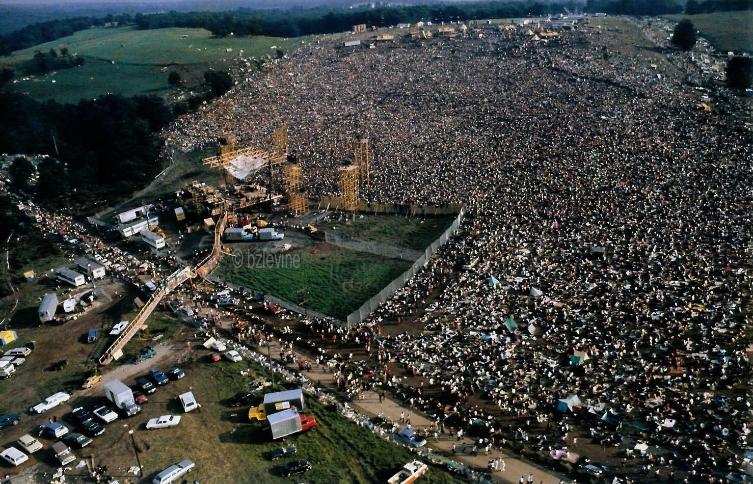 Woodstock Photo of 1969 Festival, View from the helicopter by Woodstock Photographer Barry Z Levine, copyright Barry Z Levine, all rights reserved